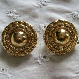 Vintage Givenchy Gold Round Clip-On Earrings